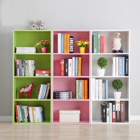Yosoo 3/4 Shelf Bookcase Storage Furniture Bookshelf Bedroom Wood ()