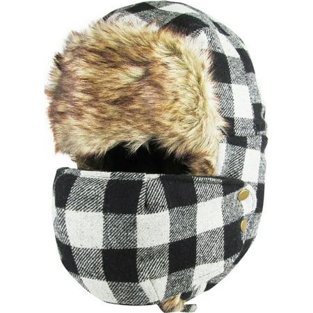 Buffalo Plaid Face Mask Aviator Trapper Hat Winter Ski Cap Faux Fur Buffalo Plaid Hat