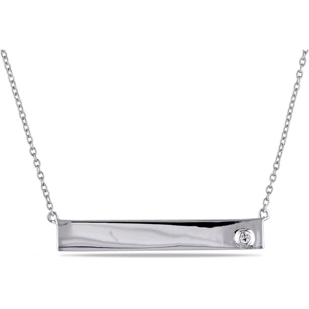 White Sapphire-Accent Sterling Silver Bar Women's Necklace, 17 with 1 Extender