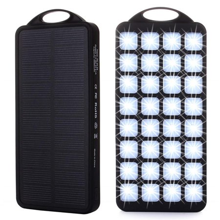 Solar Power Bank Charger, Genuine 8000mAh External Backup Battery Pack, 2 USB Ports, 32 LED Lights, Large Solar Panel Phone Charger (Best Solar Panel Phone Charger)