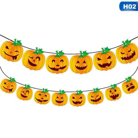 Halloween Ideen 2019 (KABOER 2019 Halloween Party Decoration Pumpkin Ghost Bat Shape Paper Hanging Flag Home Bar)