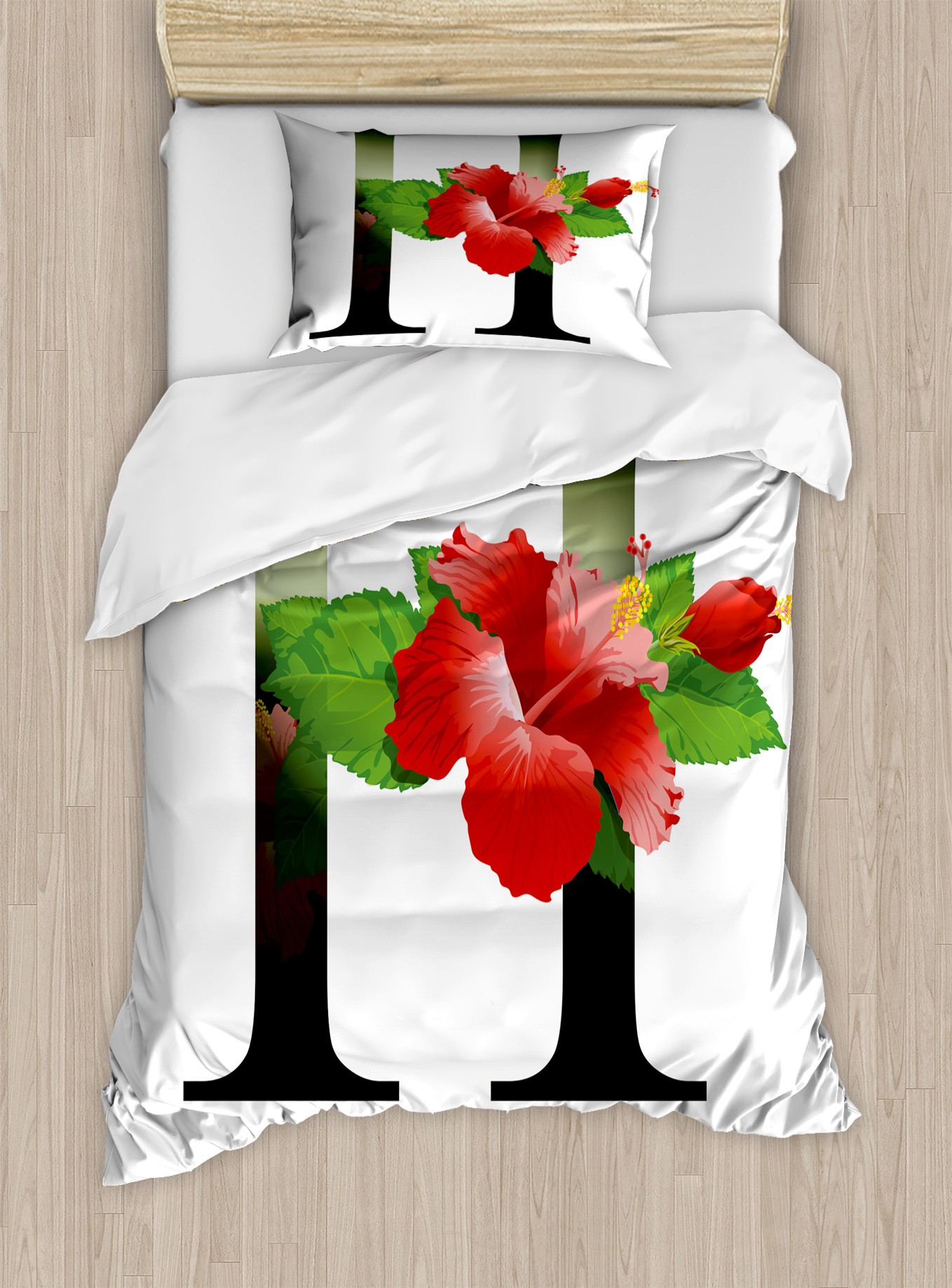 Letter h twin size duvet cover set hibiscus design green leaves letter h twin size duvet cover set hibiscus design green leaves vibrant color flower natural pattern print decorative 2 piece bedding set with 1 pillow izmirmasajfo Images