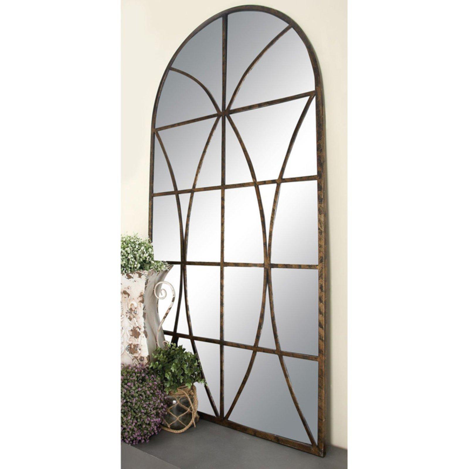 Decmode Metal and Wood Window Pane Arch Mirror, Brown