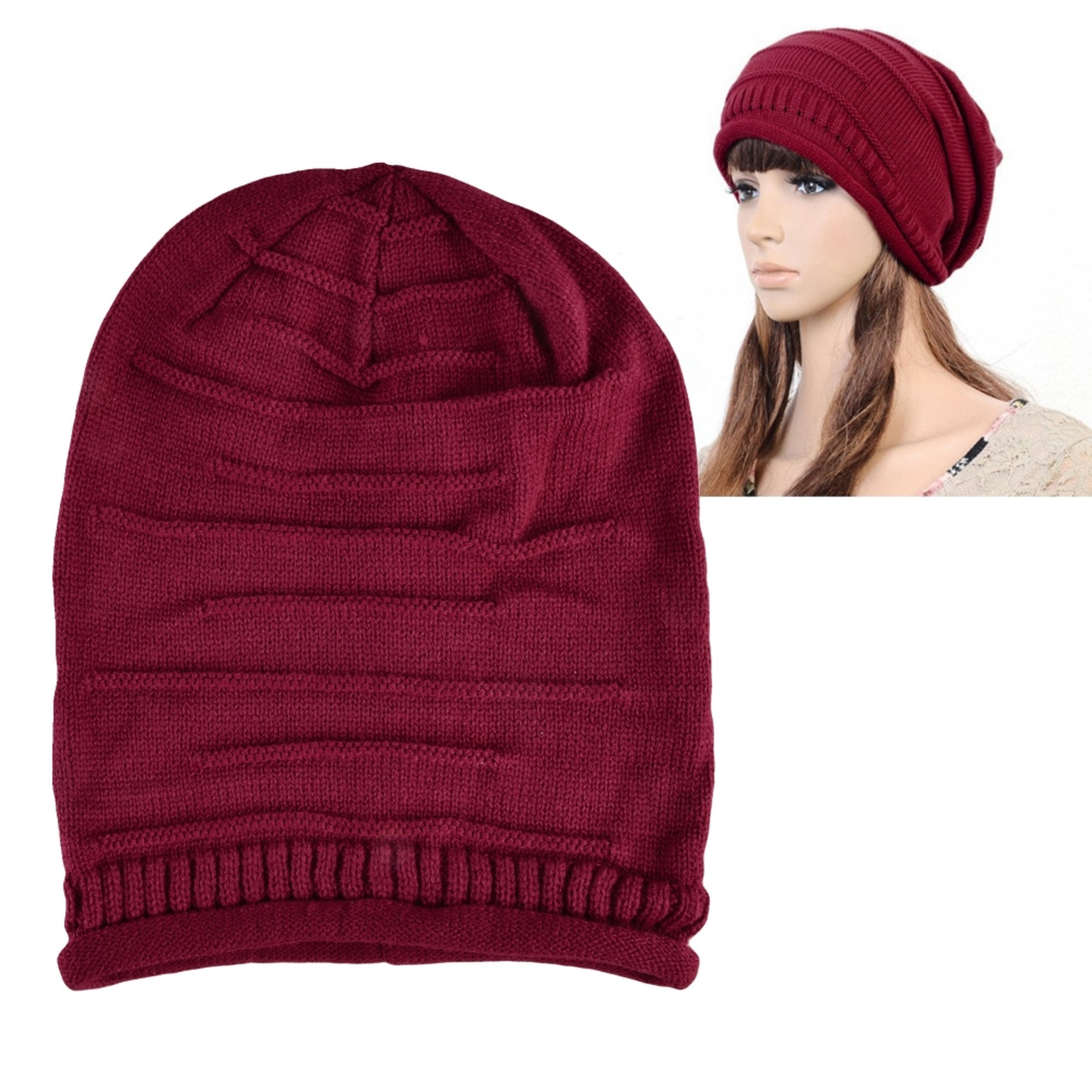 Zodaca Red Fashion Solid Color Unisex Womens Mens Knit Baggy Beanie Beret Hat Winter Warm Oversized Ski Cap