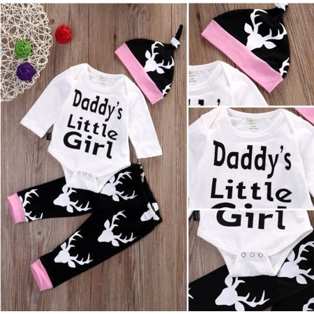 Newborn Baby Girls Little Girl Tops Romper +Long Pants Hat Outfits Set Clothes - Newborn Girl Halloween Outfits