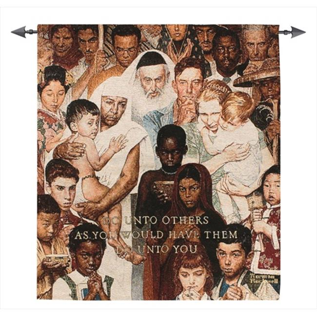 Manual Woodworkers and Weavers HWGGRL Golden Rule Tapestry Wall Hanging Vertical 38 X 43 inch