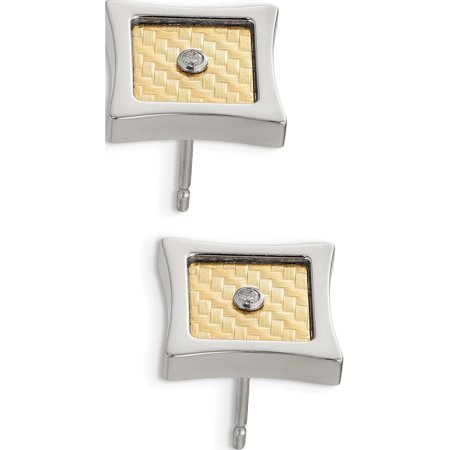 Stainless Steel w/ 18k gold accent .03ct Diamond Square Post Earrings - image 3 of 3