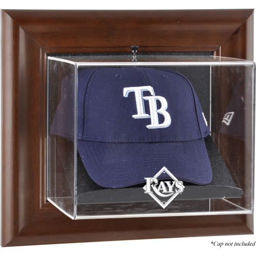 Tampa Bay Rays Fanatics Authentic Brown Framed Wall-Mounted Logo Cap Case - No Size