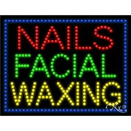Nails Facial Waxing LED Sign (High Impact, Energy