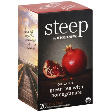 Steep par Bigelow Thé vert bio avec grenade Sacs de thé, 1,28 oz, (Paquet de 6)