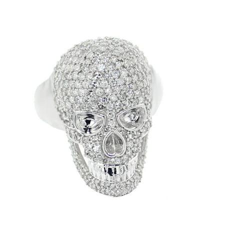 10K White Gold Diamond Skull Ring Mens Fancy Fashion Ring 2.10ctw Round Diamonds 26mm Big Pinky Ring