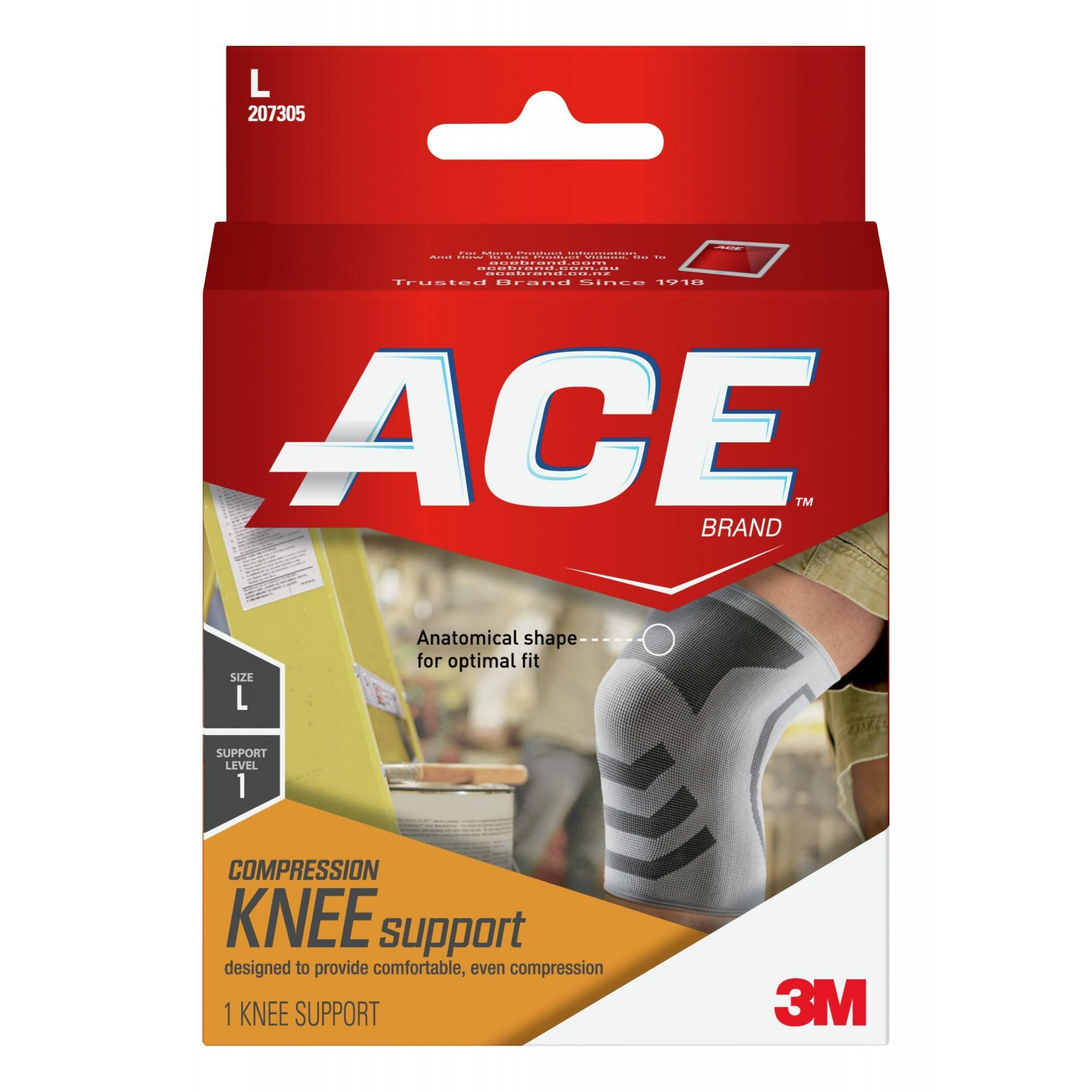 ACE Brand Compression Knee Support, Large, White/Gray, 1/Pack
