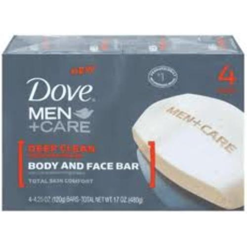 Dove Men + Care Body & Face Bar, Deep Clean 4 ea (Pack of 3)