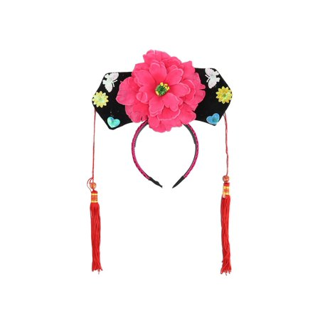 Unique Bargains Girls Pink Purple Floral Decor Oriental Chinese Princess Hairband Hat - Chinese Hats