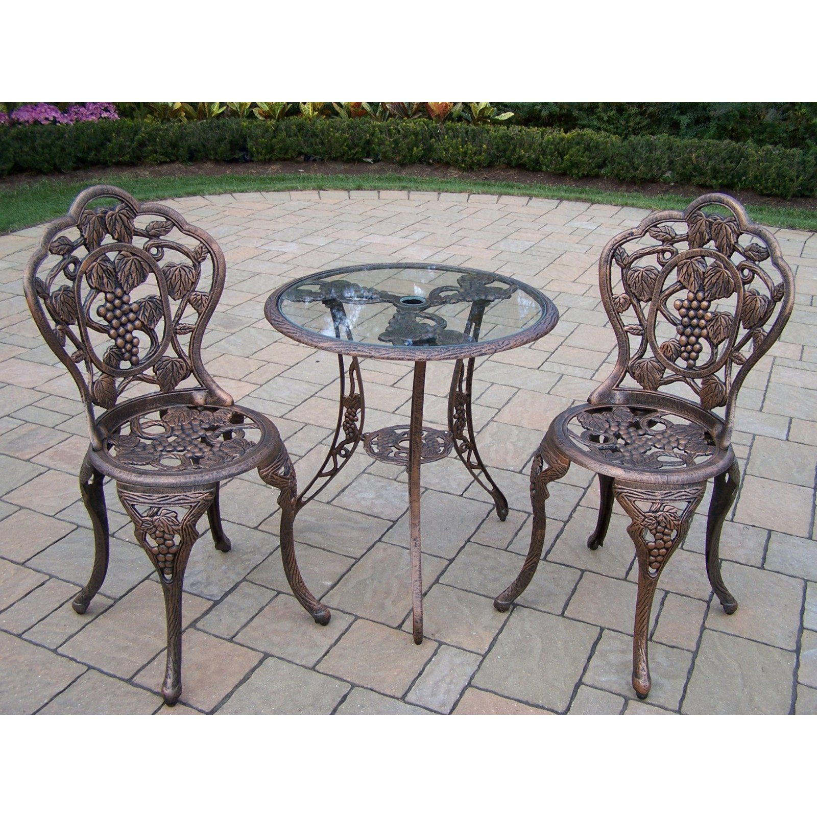Oakland Living Vineyard Cast Aluminum Glass Top Patio Bistro Set