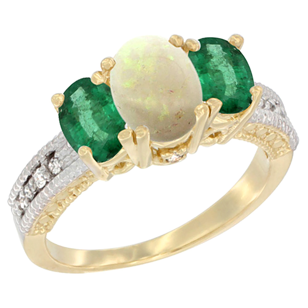 10K Yellow Gold Diamond Natural Opal Ring Oval 3-stone with Emerald, sizes 5 10 by WorldJewels
