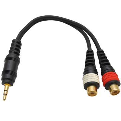 "Seismic Audio Male 1/8"" (3.5mm) to Female RCA Patch Cable - Adapter Cord for iPhone, iPod, MP3 Black - SA-iEM2TRSF"