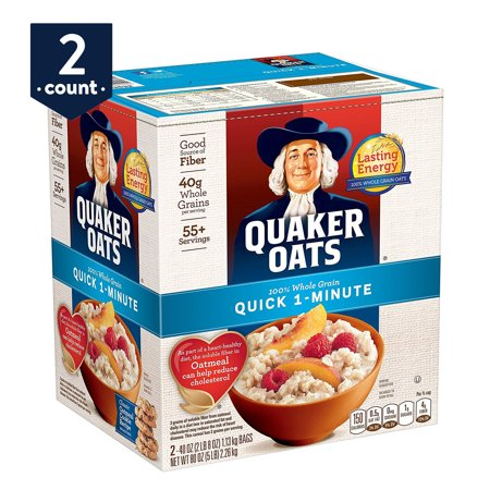 Quaker Oats, Quick 1-Minute Oatmeal, Breakfast Cereal, 40 oz Bags, 2 Count
