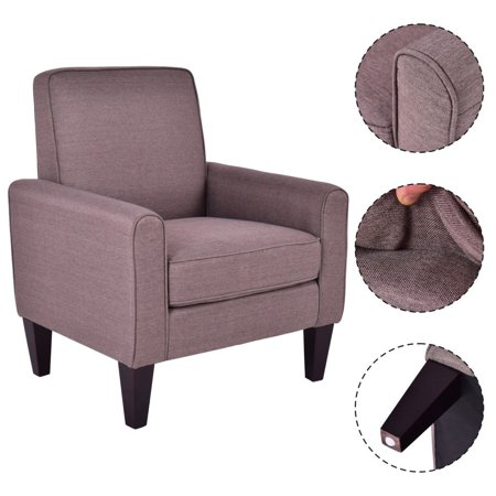 Costway modern accent arm chair single sofa linen wooden for Single chairs for living room
