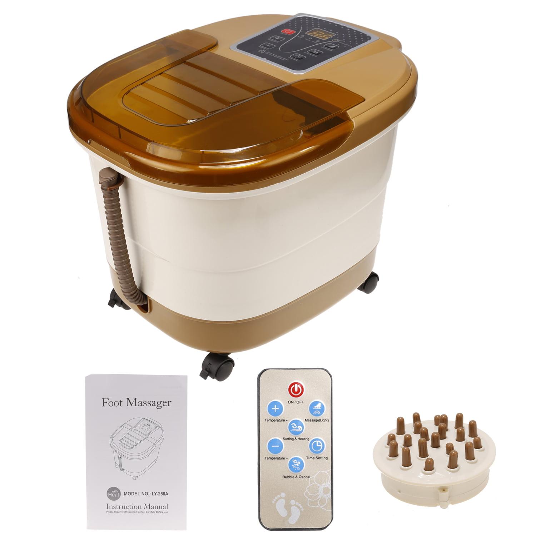Foot Spa Bath Massager Portable Heat Bubble Vibration Dig...