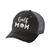 Women's Sports Mom Embroidered Ladies Fit Distressed Trucker Hat, Black, Golf Mom