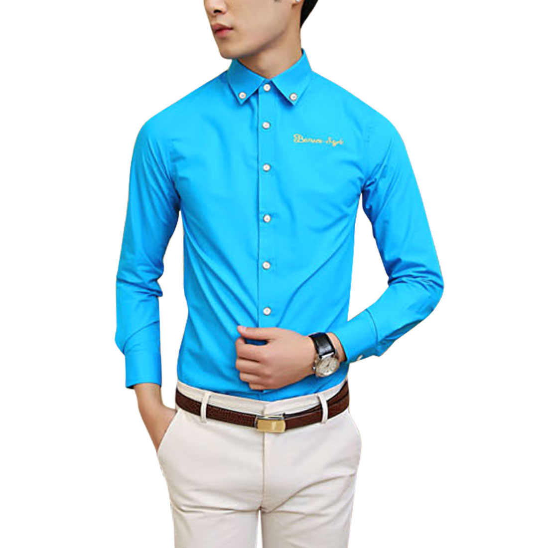 Azzuro Men's Button Cuffs Embroidery Letters Detail Casual Shirt Blue (Size M / 40��