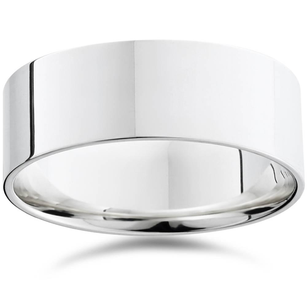 Mens 8mm Flat 950 Platinum Comfort Wedding Ring Band - image 1 de 1