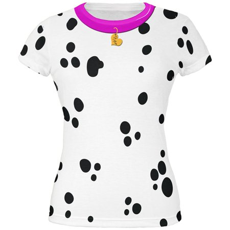 Valentine's Day Dog Dalmatian Costume Pink Collar Be Mine All Over Juniors T Shirt - Valentine Costume