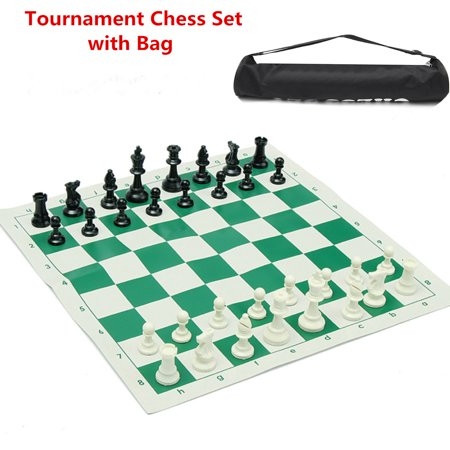 School Club Tournament Chess Set Portable Travelling Pieces With Roll Board And Storage Bag