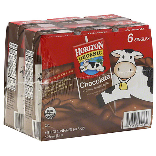 Horizon Organic Chocolate Lowfat Milk, 8 fl oz, 6 count, (Pack of 3)