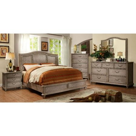 Master Bedrom Furniture Wooden HB Platform California King Size Bed Rustic Natural Tone Finish w Matching Dresser Mirror Nightstand 4pc Set Modern