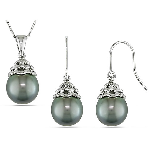 9-10mm Black Tahitian Pearl Earring and Pendant Set in Sterling Silver