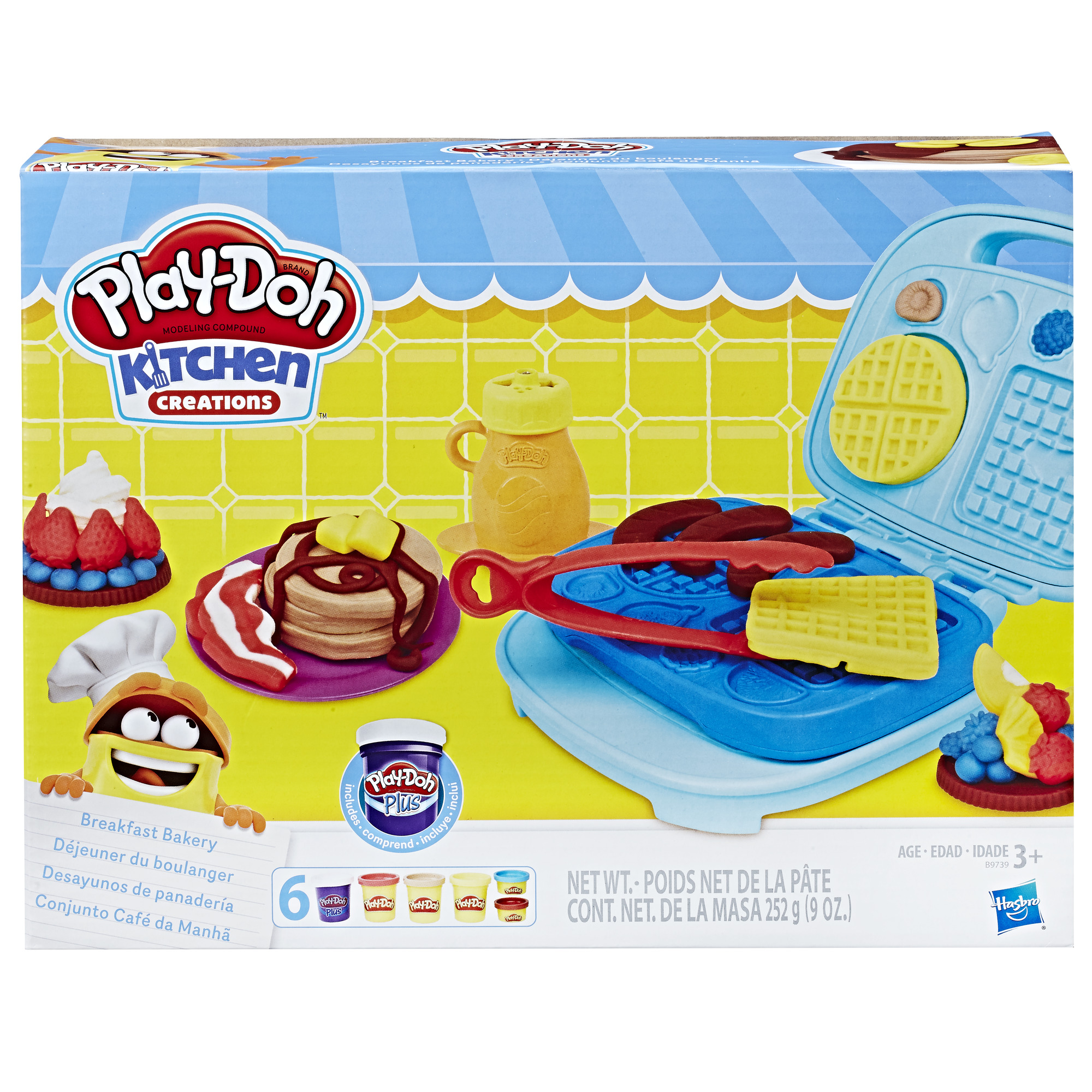 Play-Doh Kitchen Creations Breakfast Bakery Food Set with 6 Cans of Dough