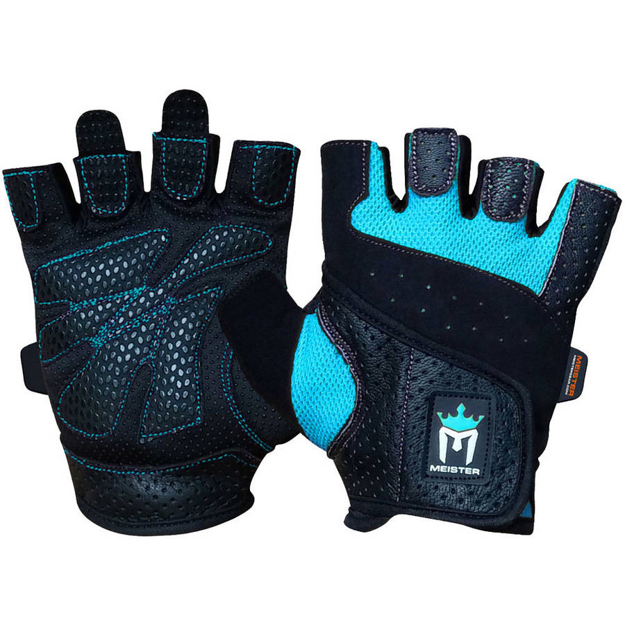 Meister Women's Fit Weight Lifting Gloves (Pair) - Turquoise - Medium