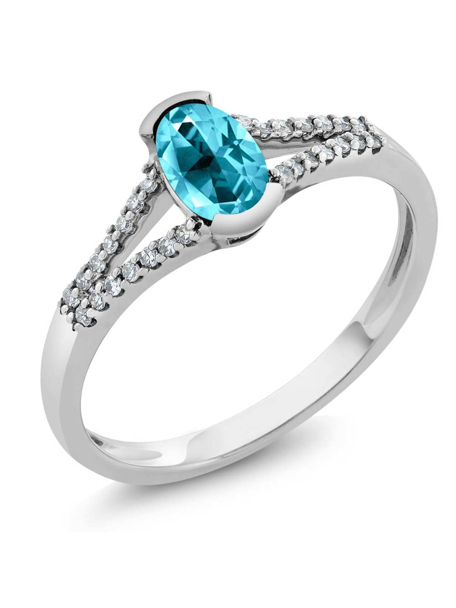 10K White Gold Diamond Ring Set with Oval Paraiba Topaz from Swarovski by