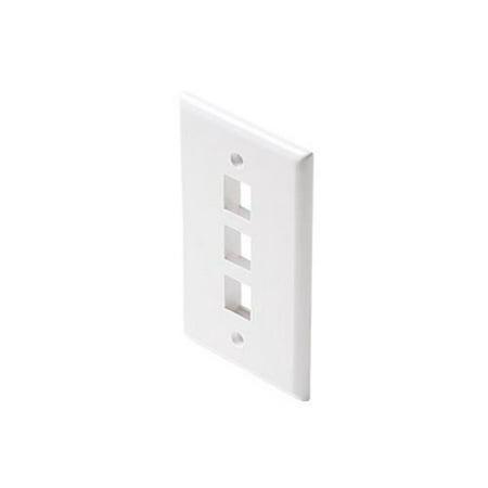 3 Cavity Category 5 White Keystone Wall Plate