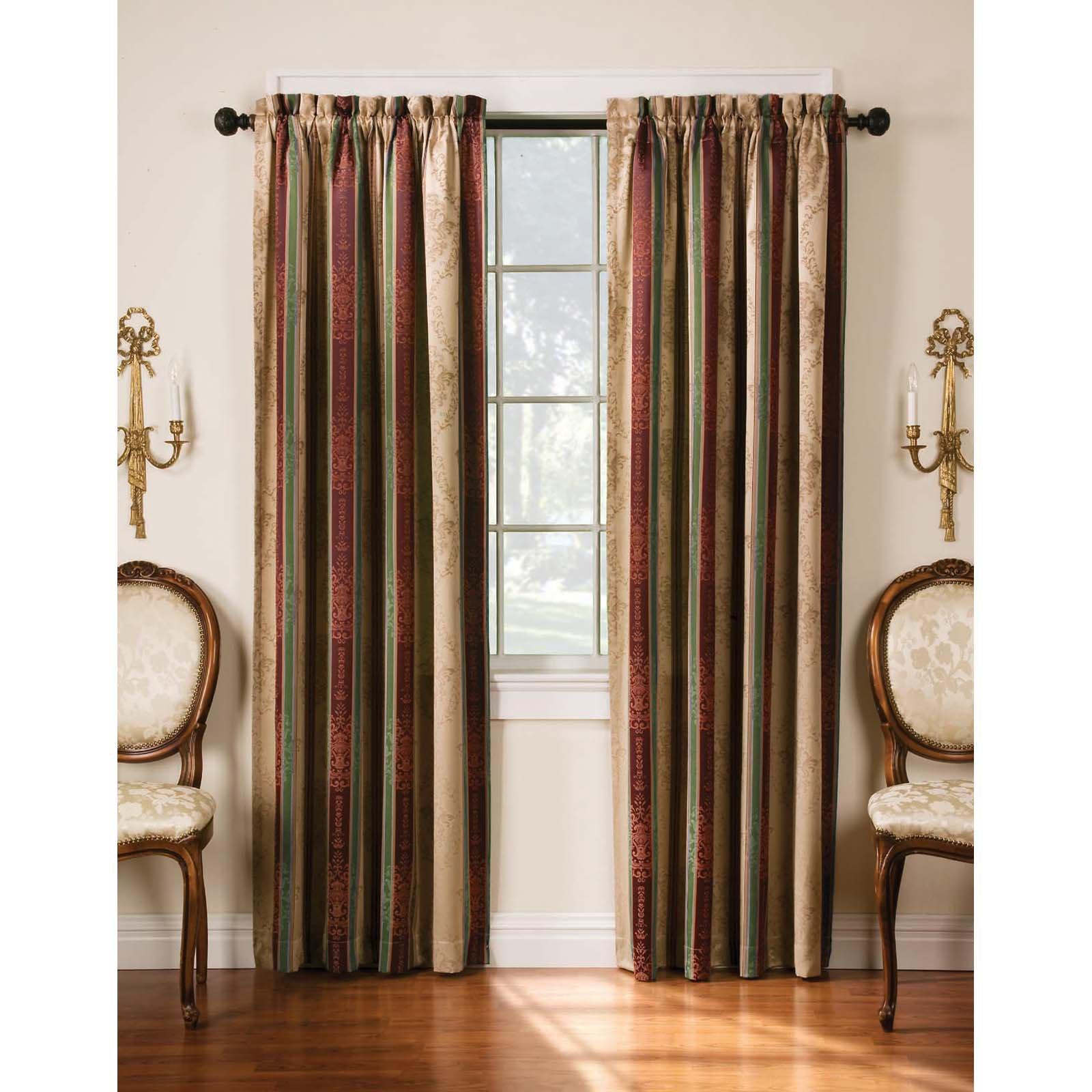 tuscan window treatments wood arlee home fashions tuscan stripe jacquard blackout panel pair walmartcom