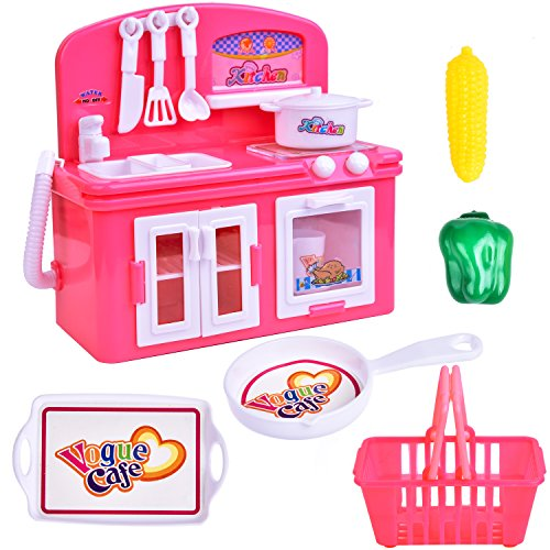 Mini Toy Kitchen Set Appliances Girl Pretend Play with Mini Oven, Sink and Groceries Basket Battery F-74