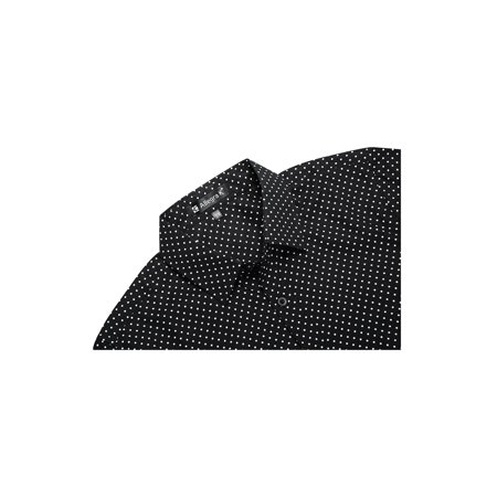 Men Short Sleeves Button Up Cotton Polka Dots Shirt Black S - image 3 de 7