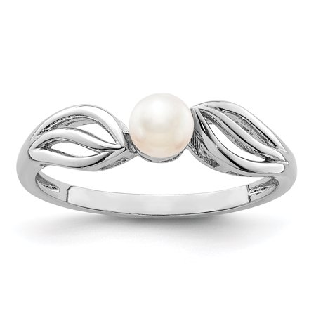 925 Sterling Silver Freshwater Cultured Pearl Band Ring Size 9.00 Birthstone June Gemstone Gifts For Women For