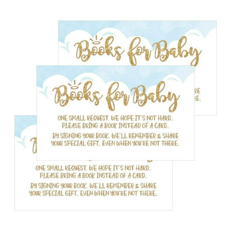 25 Books For Baby Request Insert Card For Boy Blue Heaven Sent Baby Shower Invitations or invites, Cute Bring A Book Instead of A Card Theme For Gender Reveal Party Story Games, Business Card Sized
