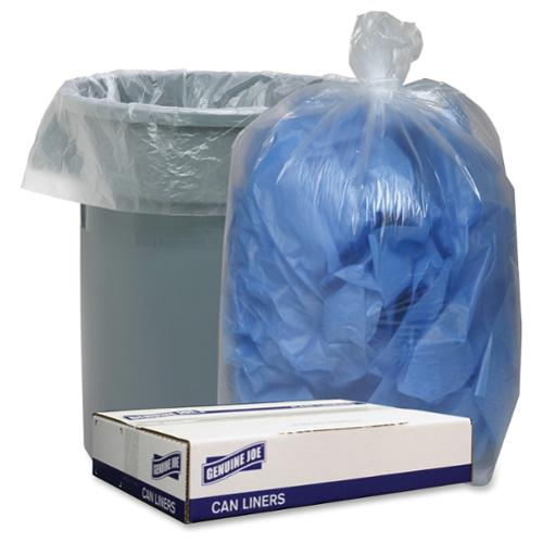 "Genuine Joe Clear Low Density 1.4mil Liners - 43"" X 47"" - 1.40 Mil [36 Micron] Thickness - Low Density - 100/carton - Clear (gjo-29132)"