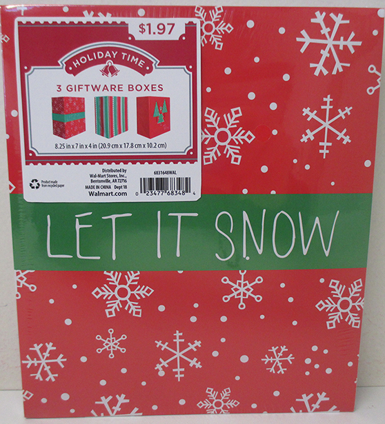HOLIDAY TIME - 3 PACK GIFTWARE GIFT BOXES, PRINT, LET IT SNOW