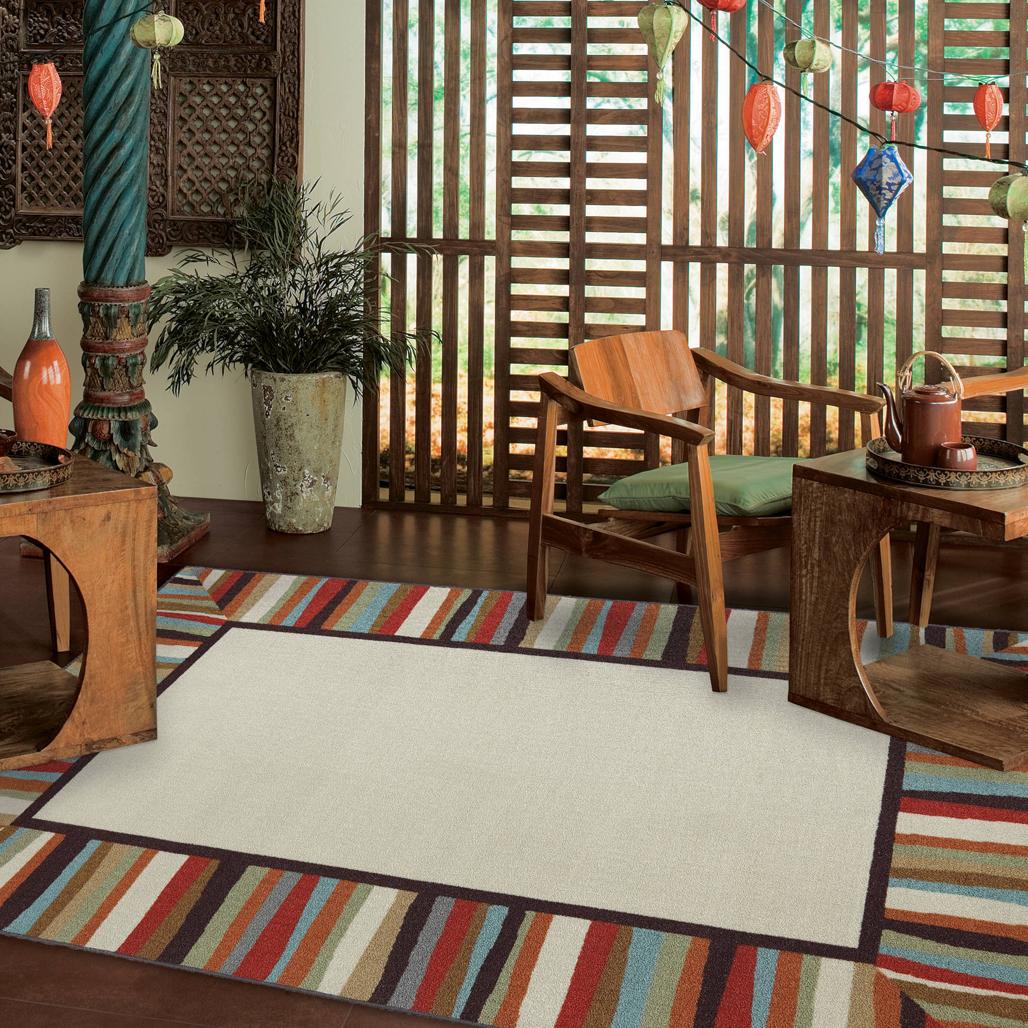 Mohawk Home Patio Border Indoor Outdoor Nylon Rug Rainbow