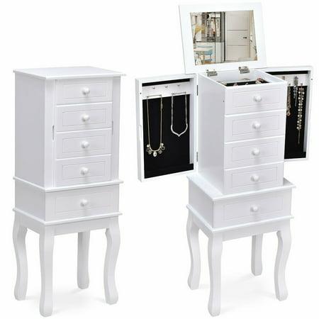Gymax Jewelry Cabinet Armoire Box Mirrored Storage Chest Stand Organizer ()