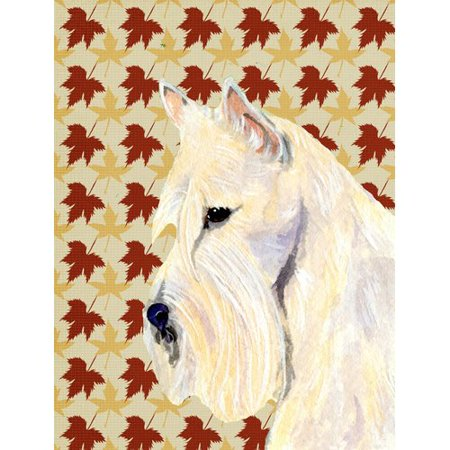 Caroline's Treasures Scottish Terrier Wheaten Fall Leaves Portrait 2-Sided Garden Flag