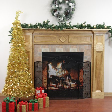 6 39 pre lit pop up gold tinsel artificial christmas tree clear lights. Black Bedroom Furniture Sets. Home Design Ideas