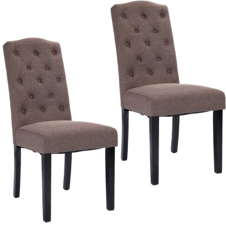 Costway set of 2 fabric wood accent dining chair tufted for Wood dining arm chairs