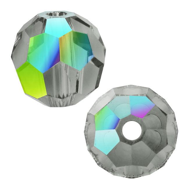 Swarovski Crystal, #5000 Round Beads 8mm, 8 Pieces, Black Diamond AB