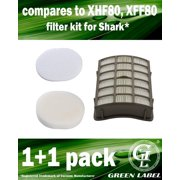 HEPA Filter + Foam and Felt Filter Kit for Shark Navigator Professional Vacuum Cleaners (compares to XHF80, XFF80). Fits: NV70, NV80, NV90, UV420. Genuine Green Label product